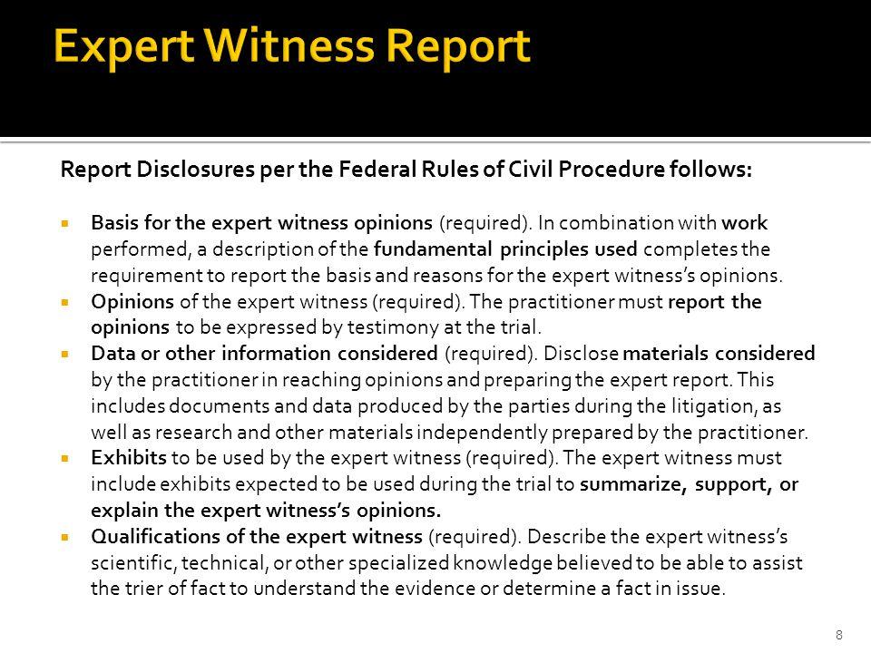 Expert Witness Report Expert Report