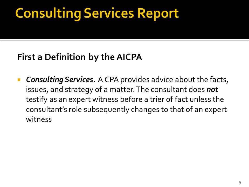 Consulting Services Report