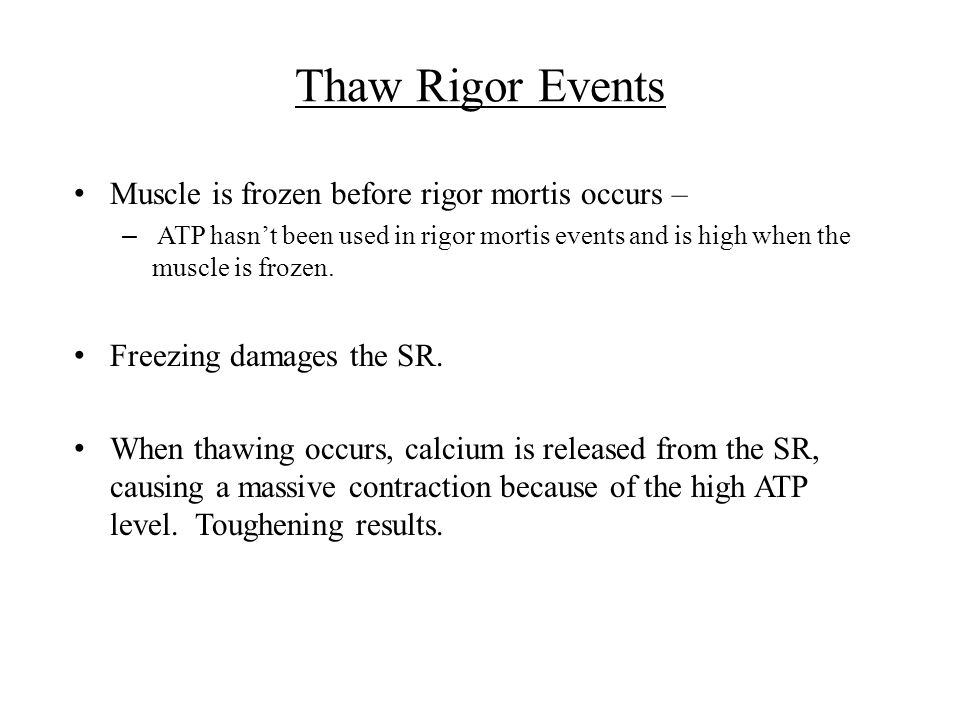 Thaw Rigor Events Muscle is frozen before rigor mortis occurs –
