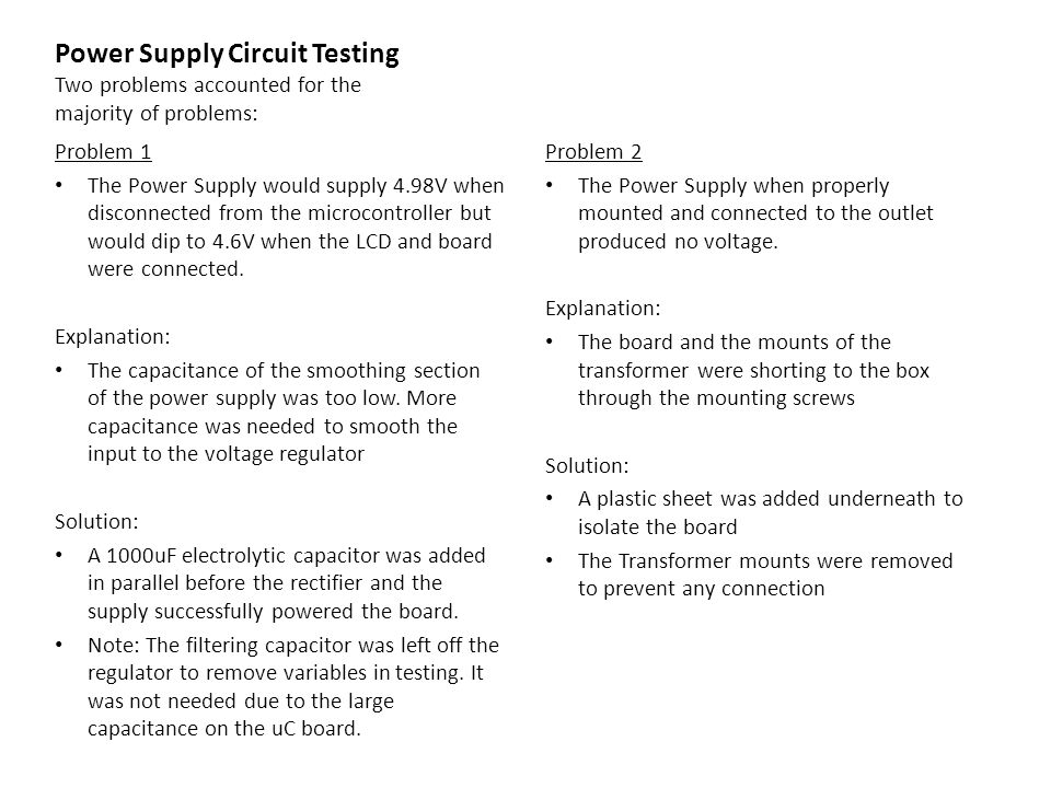 Power Supply Circuit Testing Two problems accounted for the majority of problems: