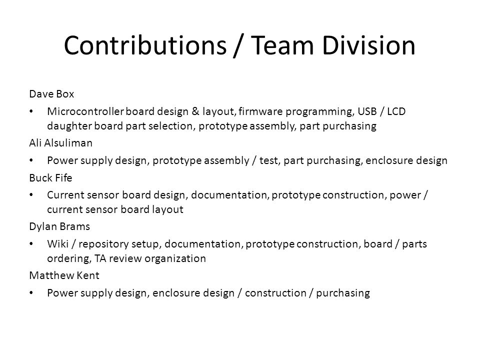 Contributions / Team Division