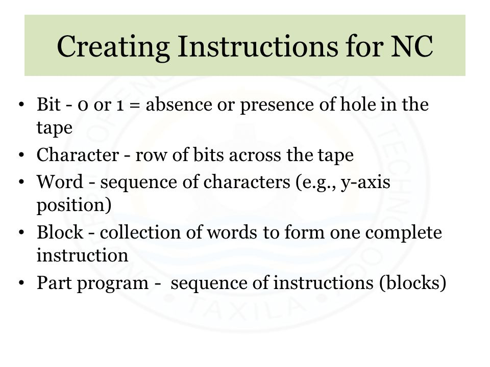 Creating Instructions for NC