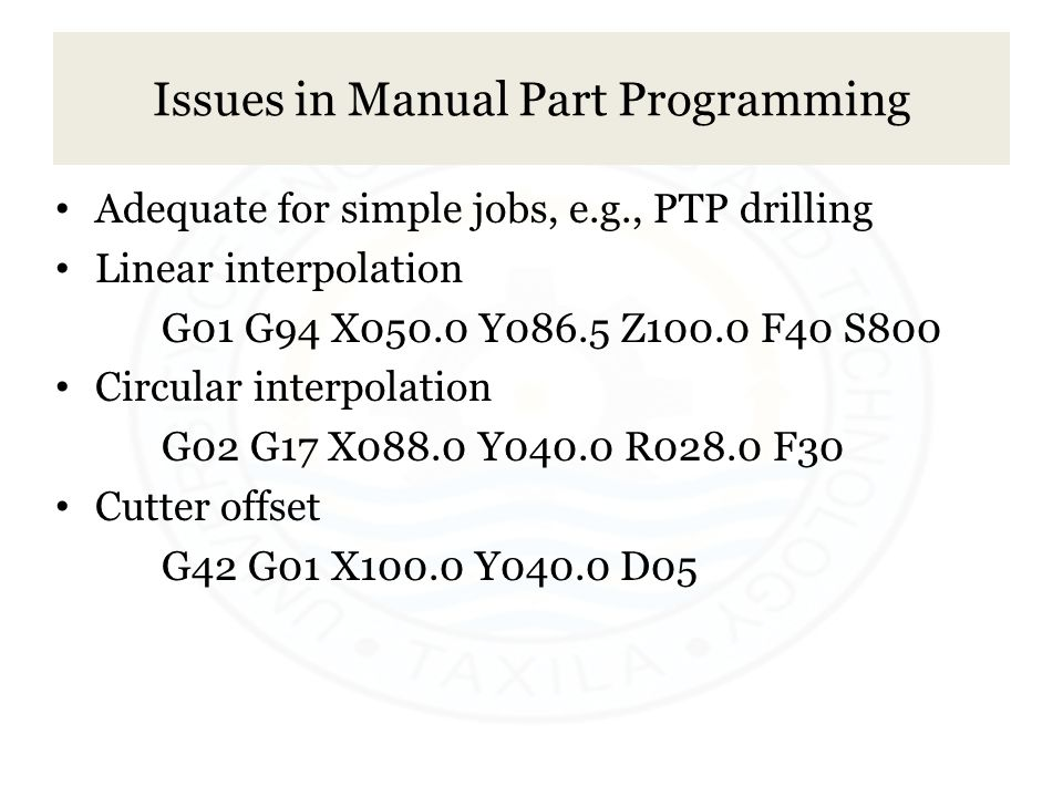 Issues in Manual Part Programming