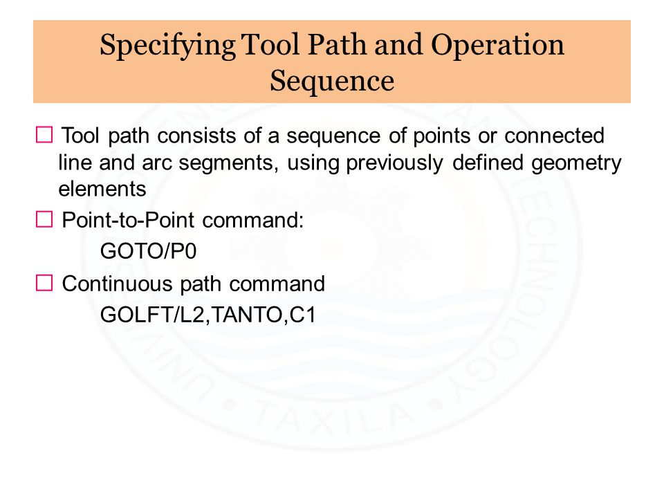 Specifying Tool Path and Operation Sequence
