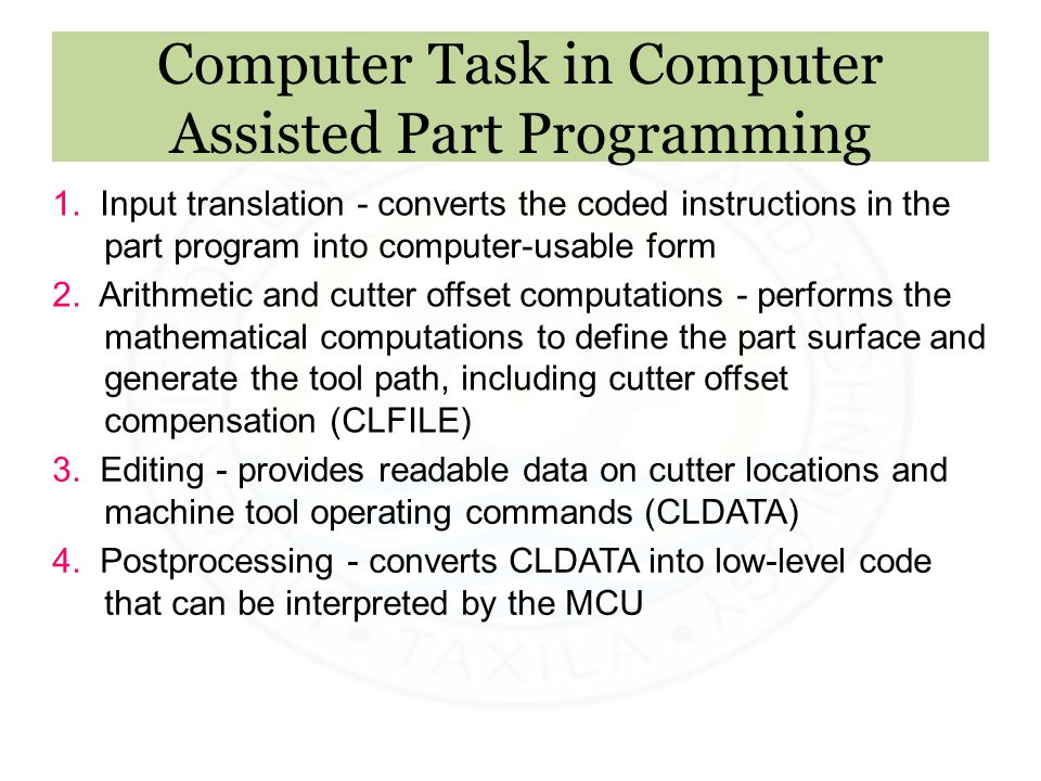 Computer Task in Computer Assisted Part Programming