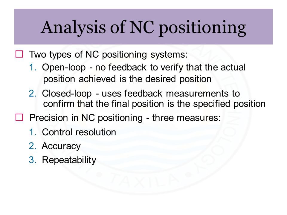 Analysis of NC positioning