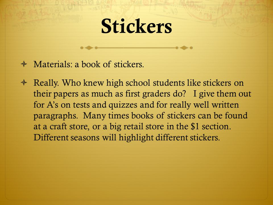 Stickers Materials: a book of stickers.