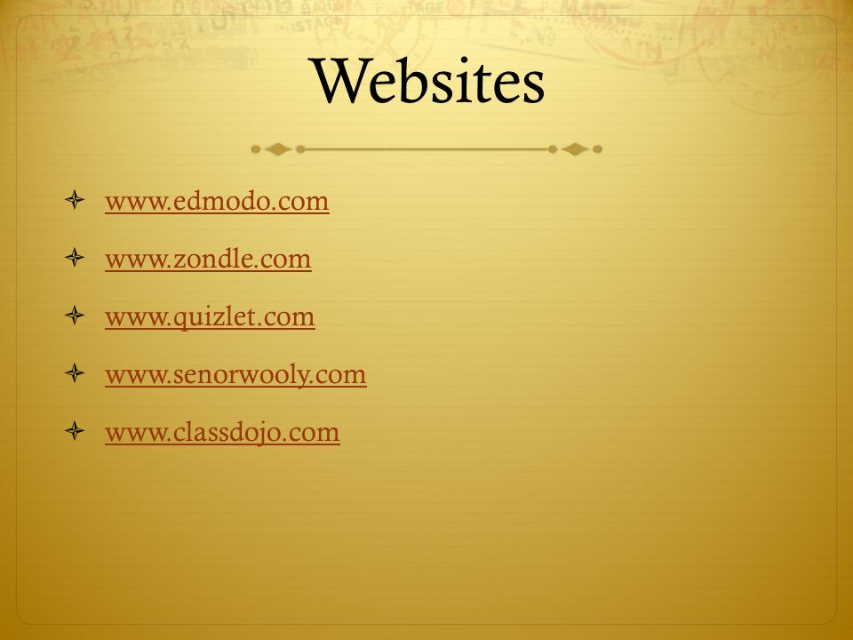 Websites www.edmodo.com www.zondle.com www.quizlet.com