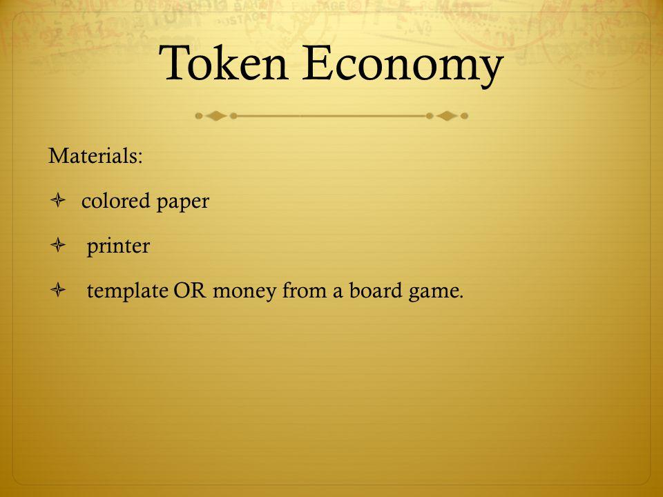 Token Economy Materials: colored paper printer