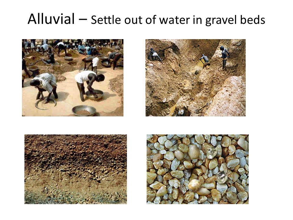 Alluvial – Settle out of water in gravel beds