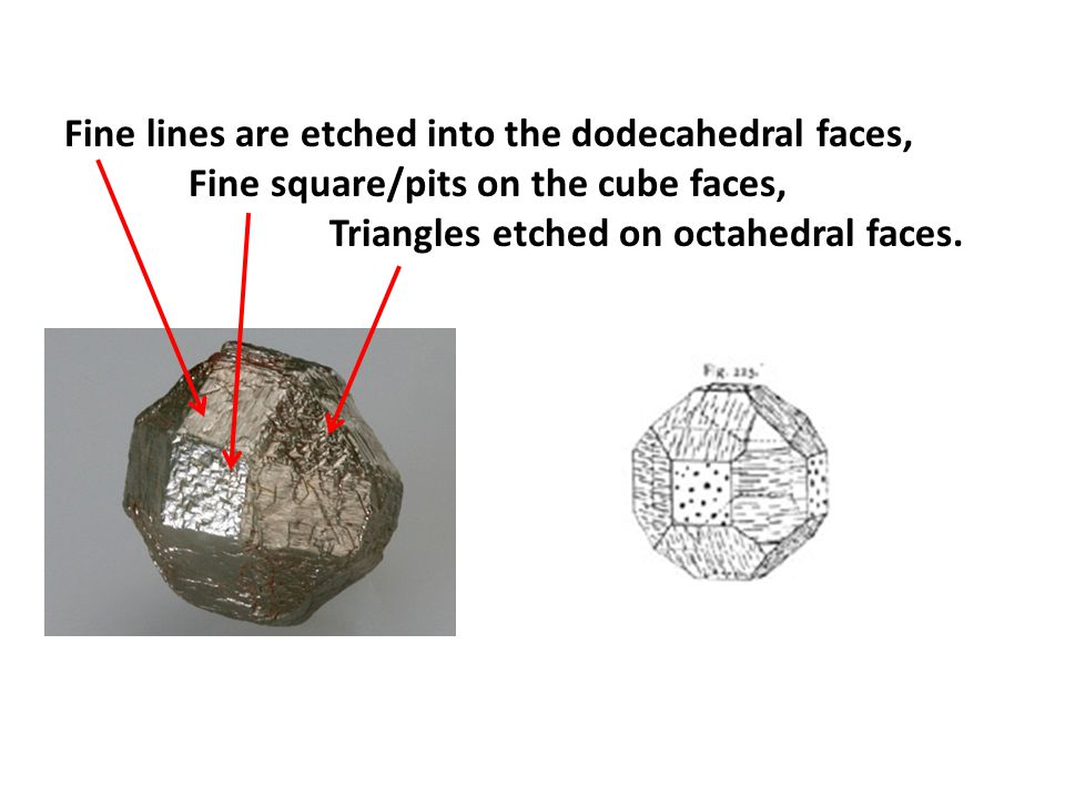 Fine lines are etched into the dodecahedral faces,