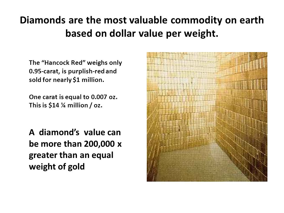 Diamonds are the most valuable commodity on earth based on dollar value per weight.