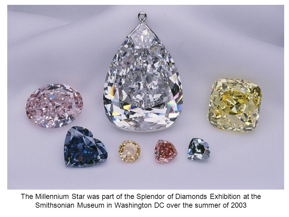 The Millennium Star was part of the Splendor of Diamonds Exhibition at the Smithsonian Museum in Washington DC over the summer of 2003