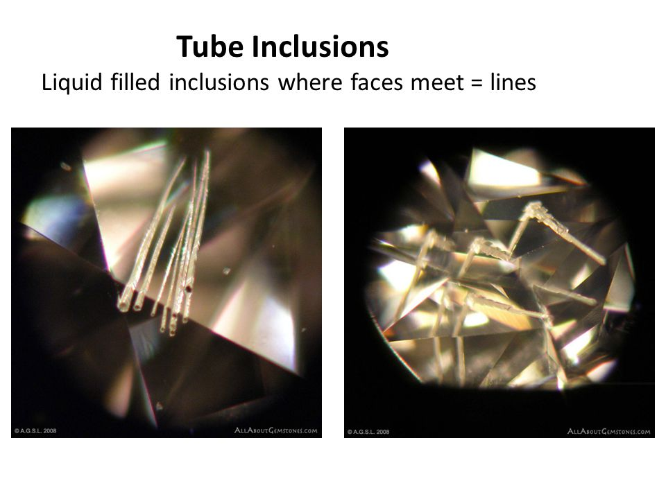Liquid filled inclusions where faces meet = lines
