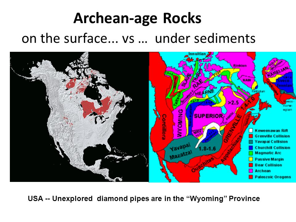 Archean-age Rocks on the surface... vs … under sediments
