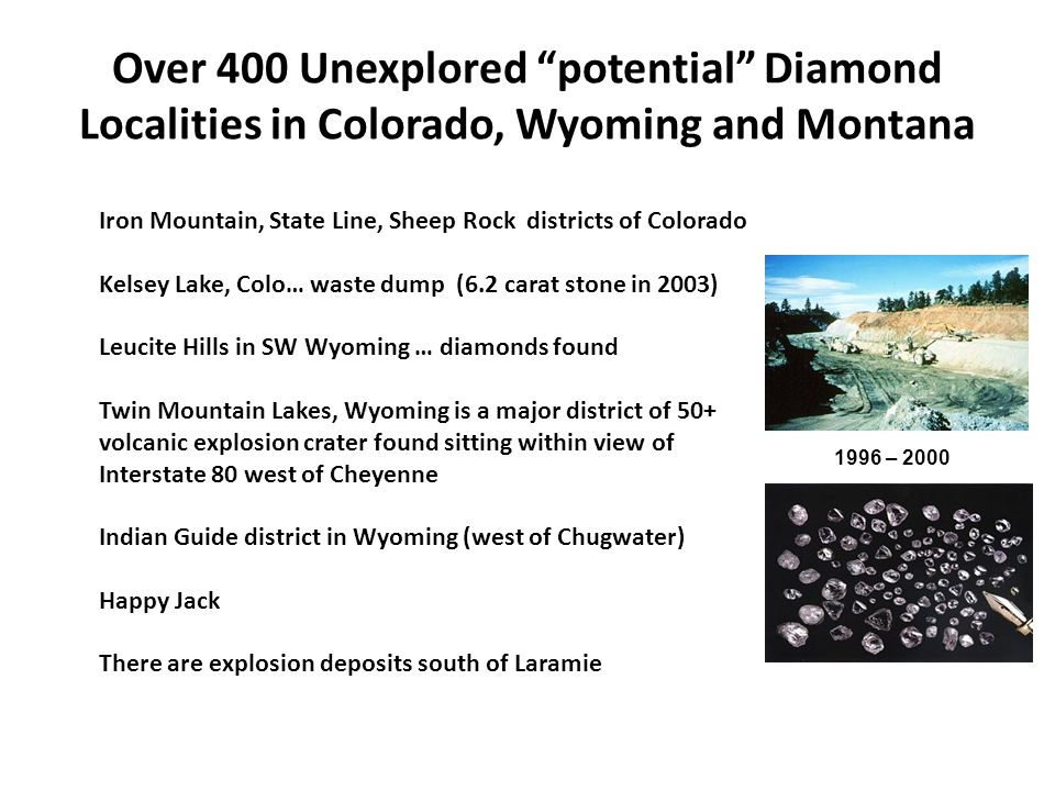 Over 400 Unexplored potential Diamond Localities in Colorado, Wyoming and Montana