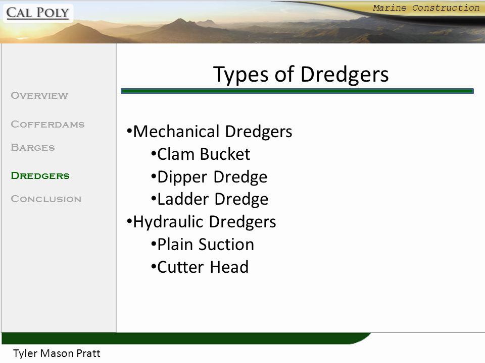 Types of Dredgers Mechanical Dredgers Clam Bucket Dipper Dredge
