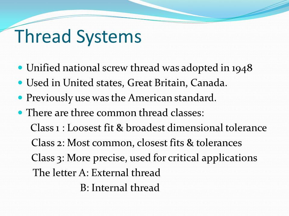 Thread Systems Unified national screw thread was adopted in 1948