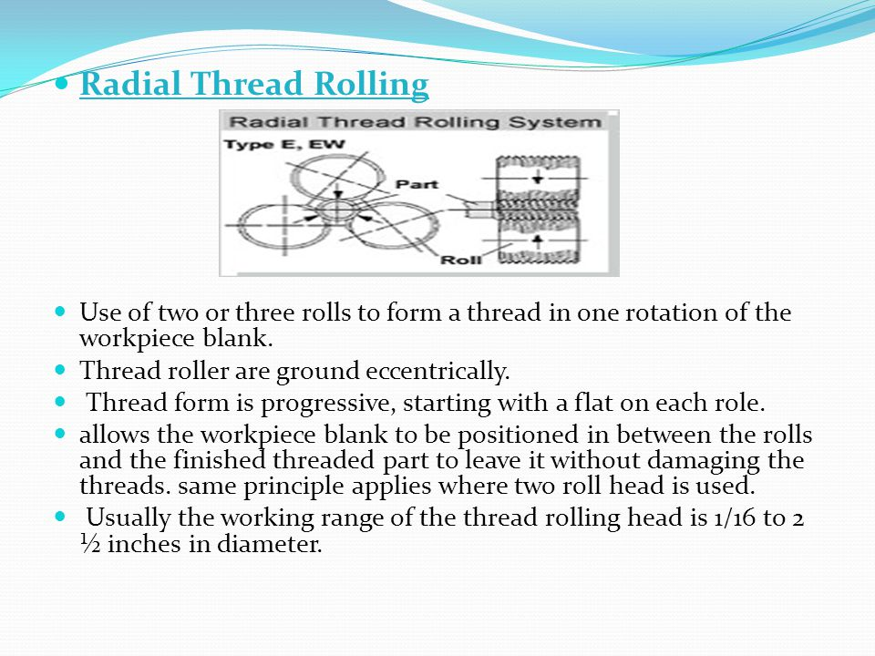 Radial Thread Rolling Use of two or three rolls to form a thread in one rotation of the workpiece blank.
