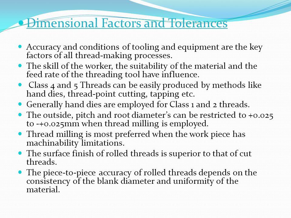 Dimensional Factors and Tolerances