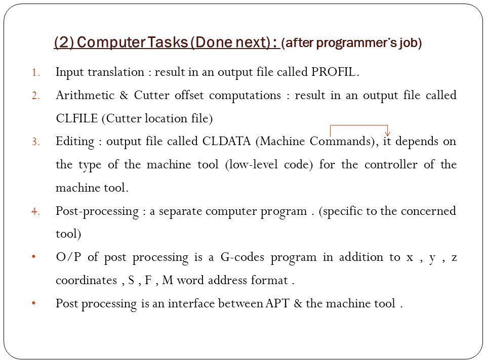 (2) Computer Tasks (Done next) : (after programmer's job)
