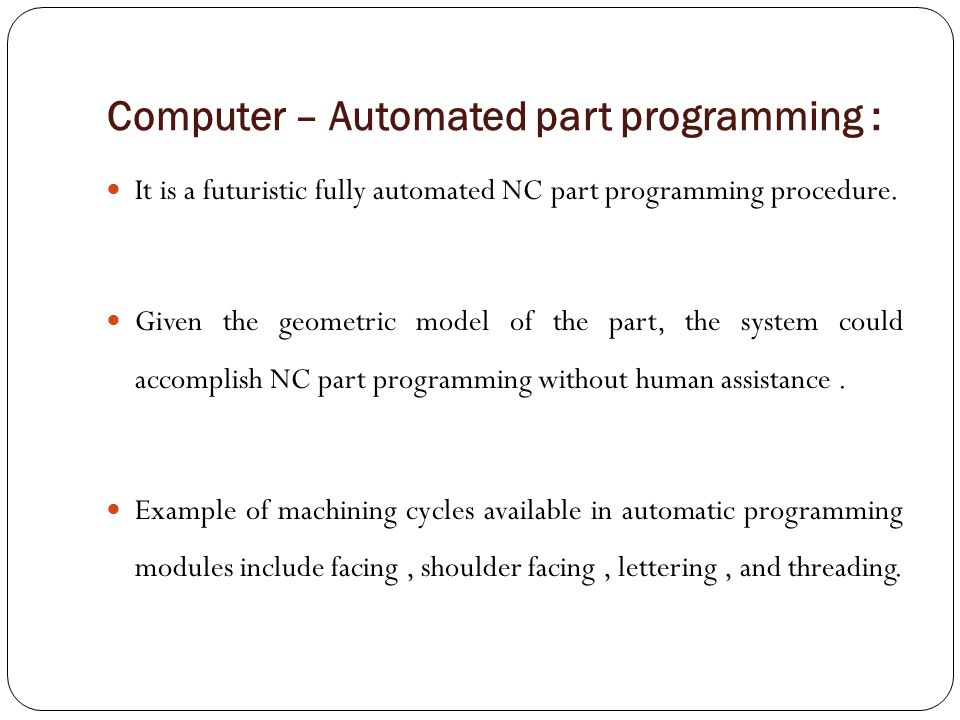 Computer – Automated part programming :