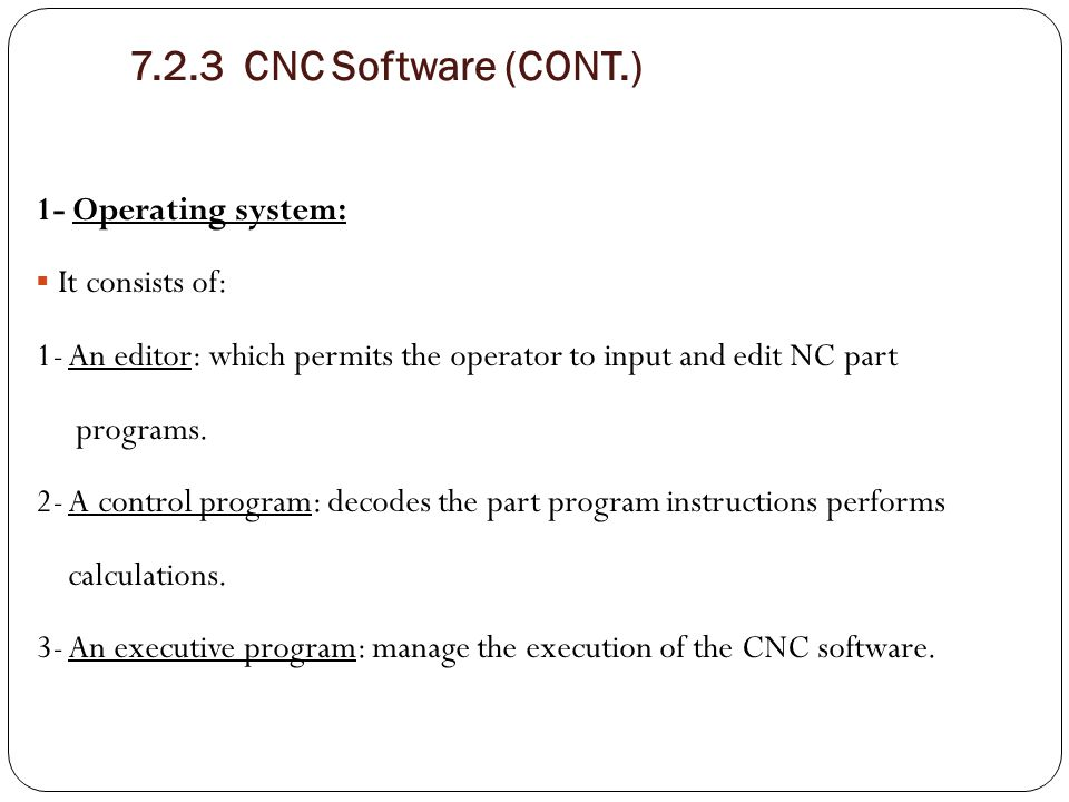 7.2.3 CNC Software (CONT.) 1- Operating system: It consists of: