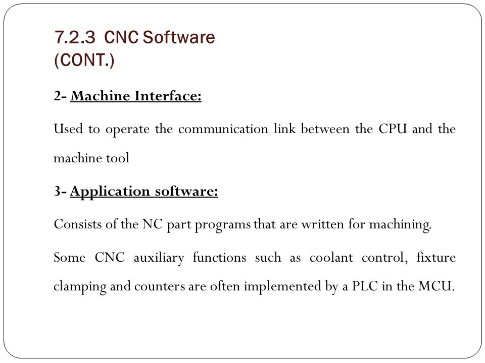 7.2.3 CNC Software (CONT.)