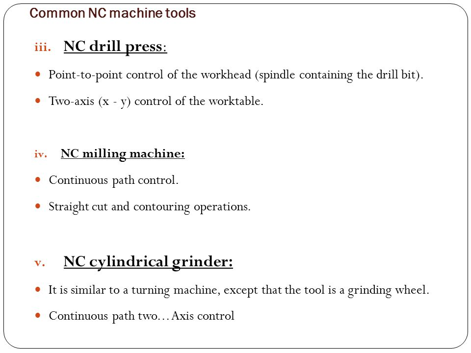 Common NC machine tools