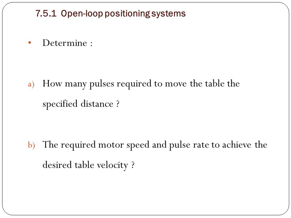 How many pulses required to move the table the specified distance