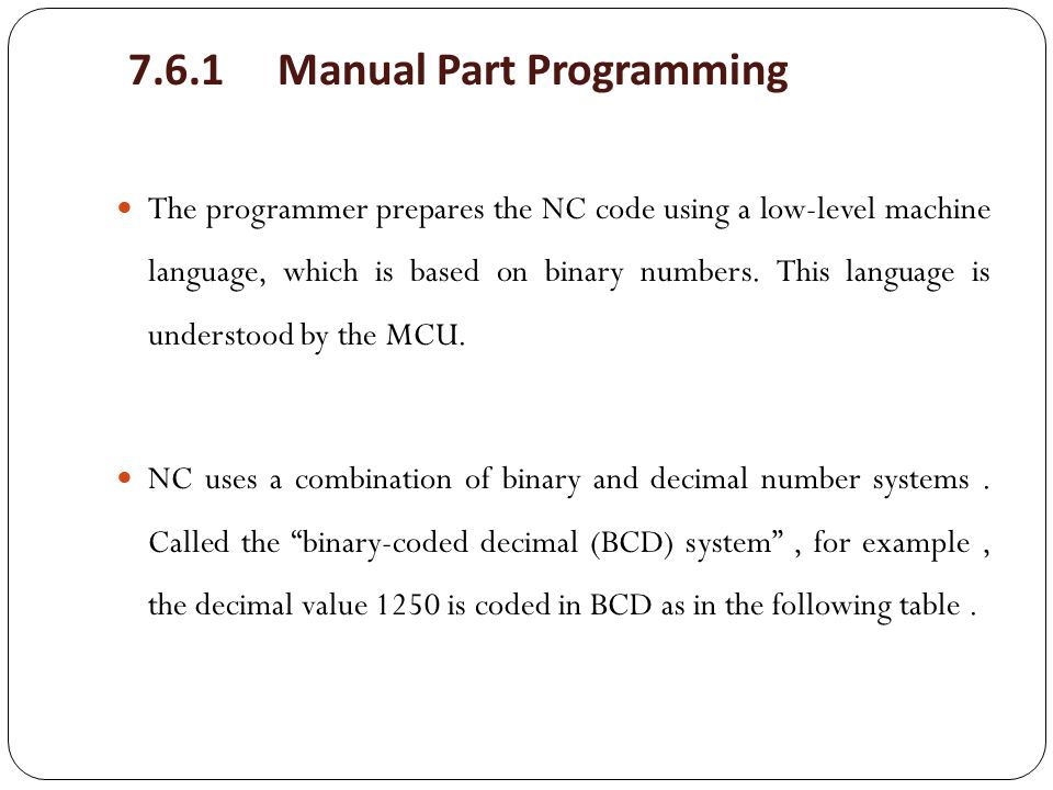 7.6.1 Manual Part Programming