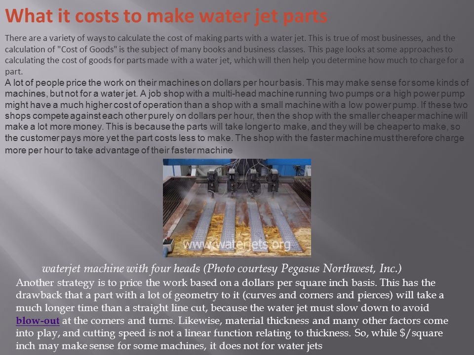 What it costs to make water jet parts