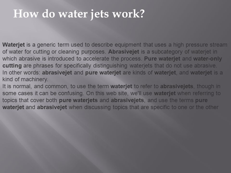 How do water jets work