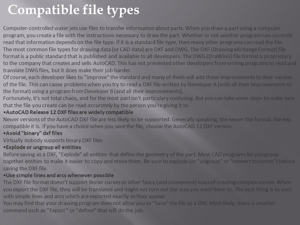 Compatible file types
