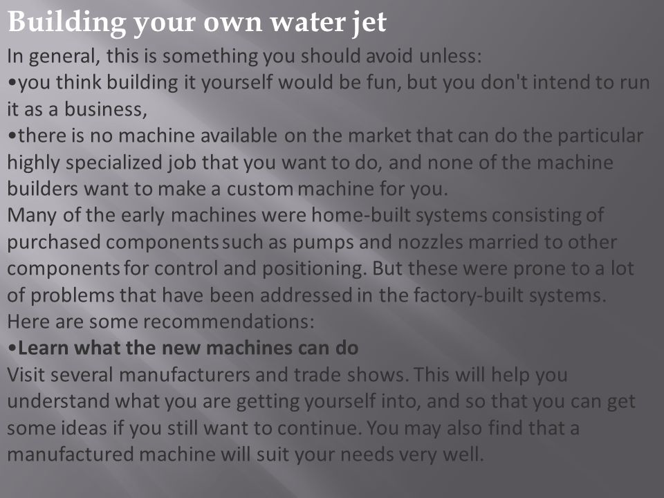 Building your own water jet