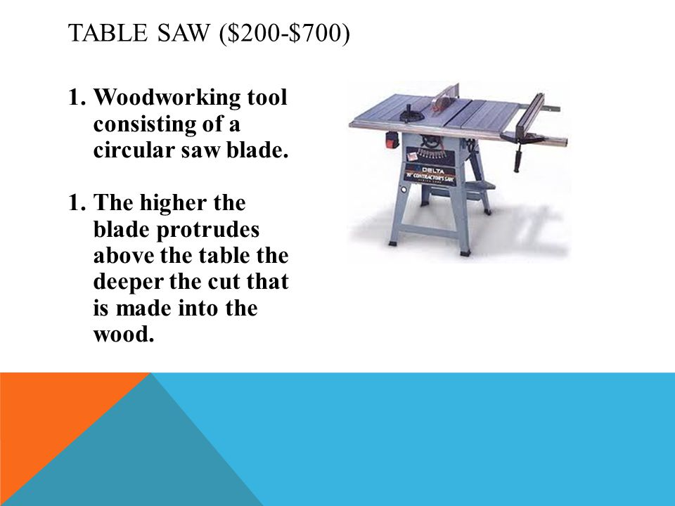 Table Saw ($200-$700) Woodworking tool consisting of a circular saw blade.