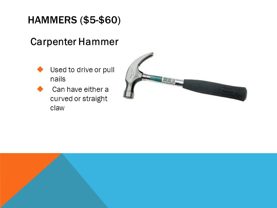 Hammers ($5-$60) Carpenter Hammer Used to drive or pull nails