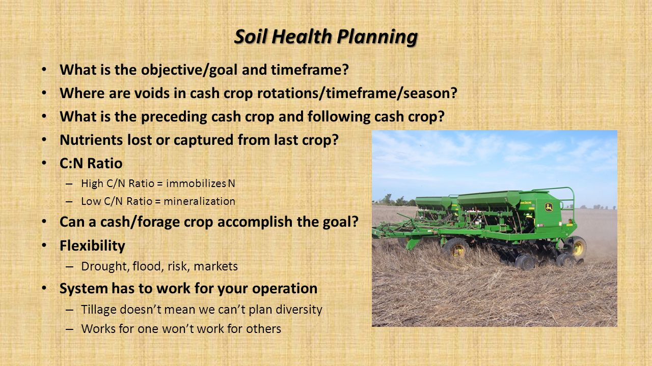Soil Health Planning What is the objective/goal and timeframe