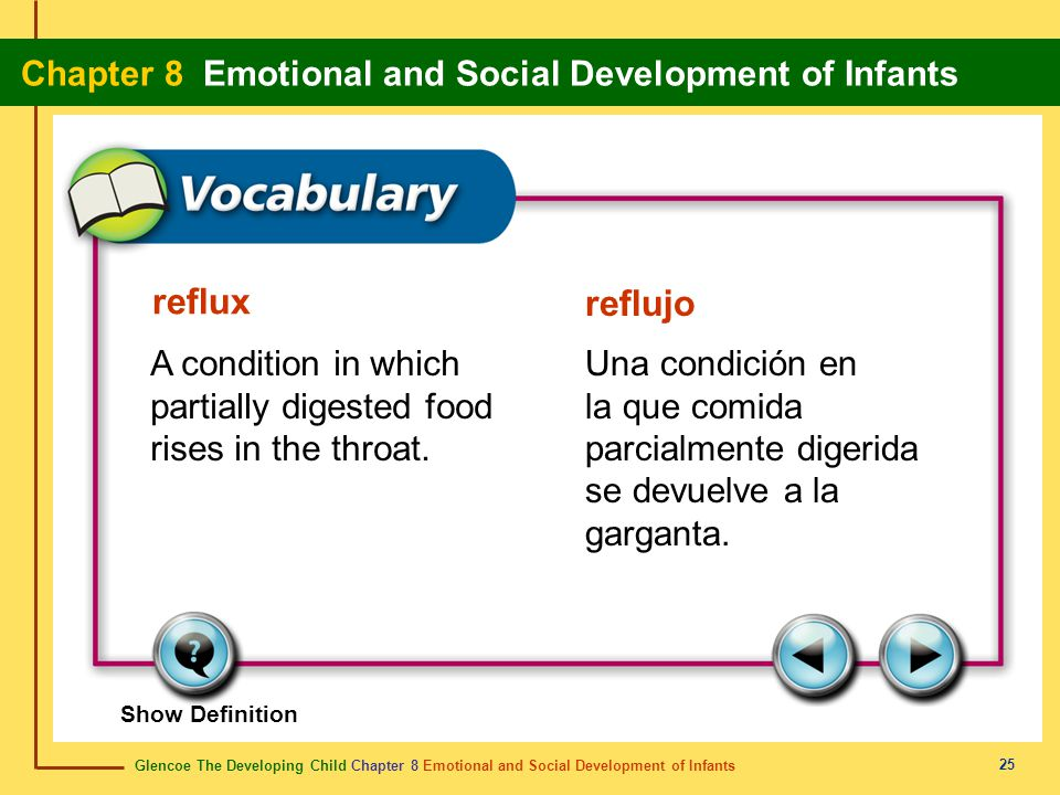 reflux reflujo. A condition in which partially digested food rises in the throat.
