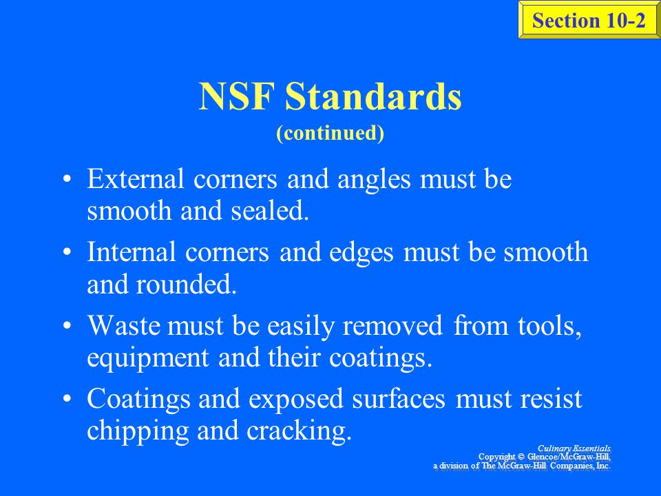 NSF Standards (continued)