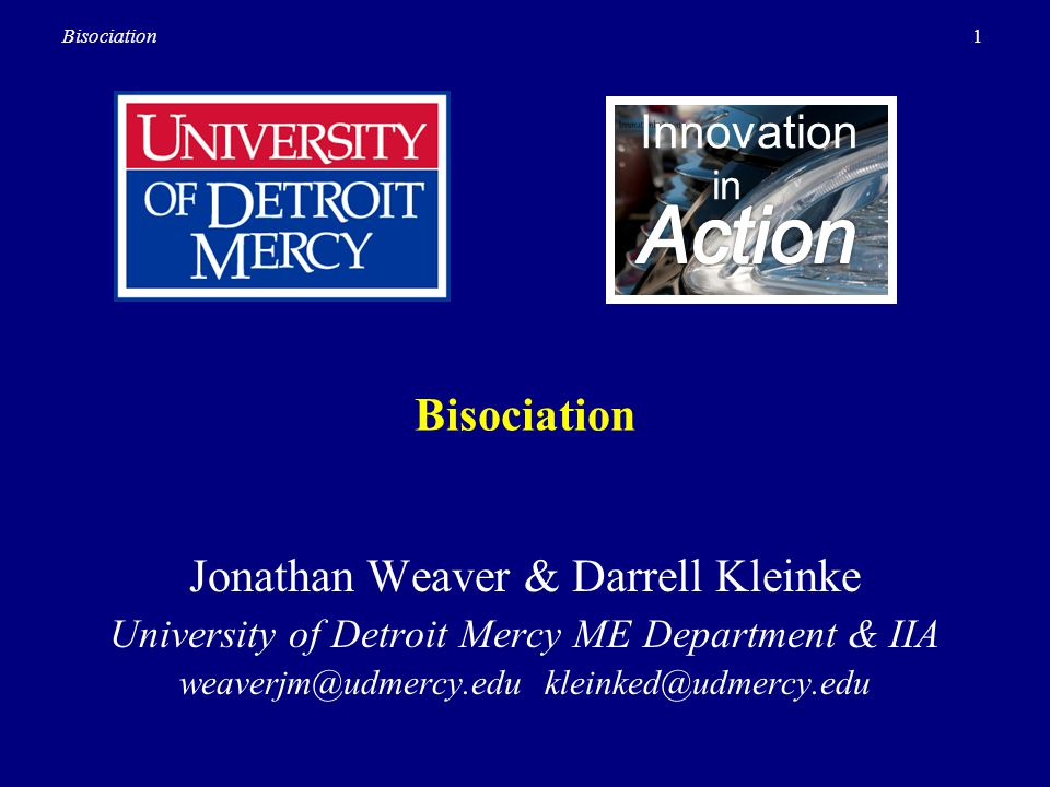 Action Innovation Bisociation Jonathan Weaver & Darrell Kleinke