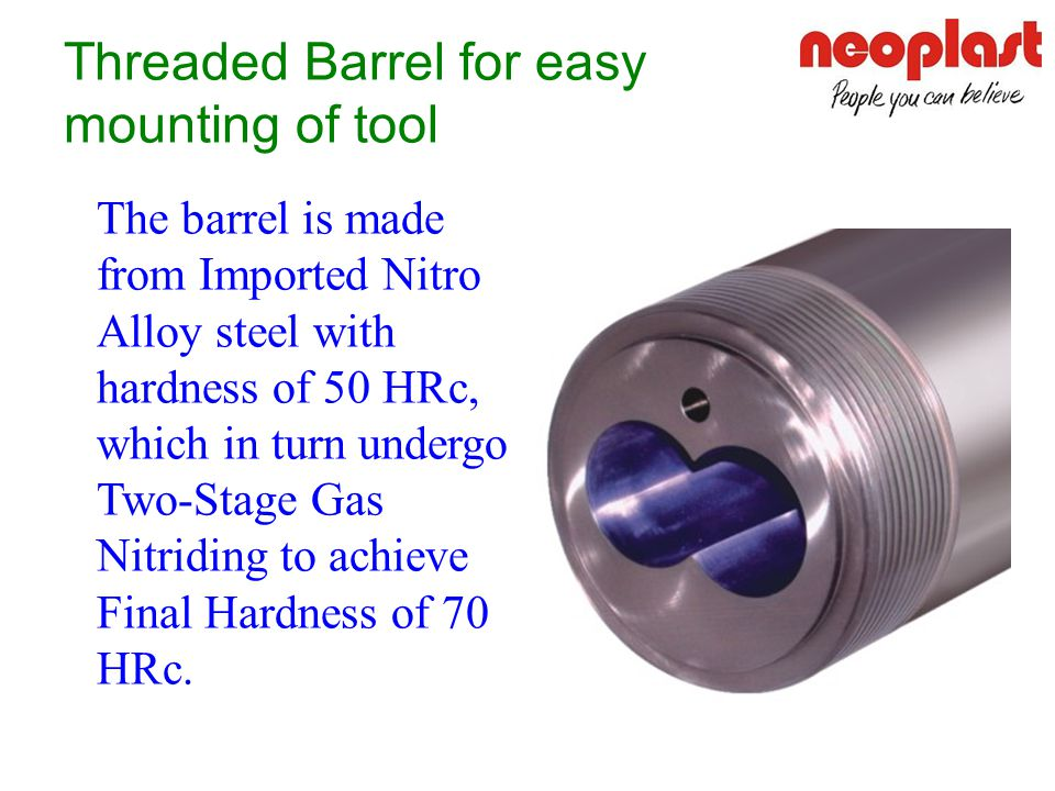 Threaded Barrel for easy mounting of tool