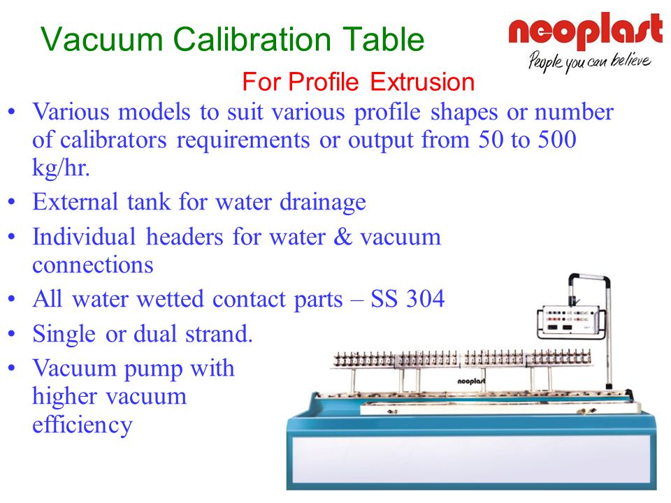 Vacuum Calibration Table For Profile Extrusion