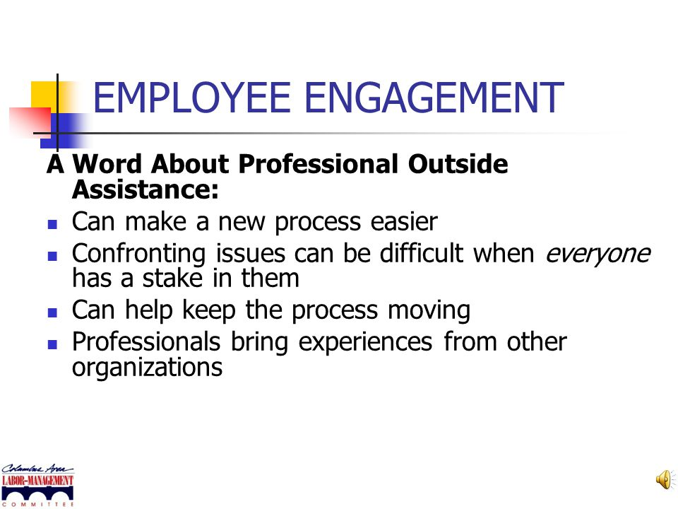 EMPLOYEE ENGAGEMENT A Word About Professional Outside Assistance: