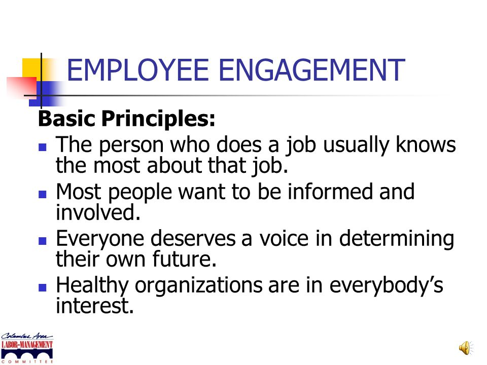 EMPLOYEE ENGAGEMENT Basic Principles: