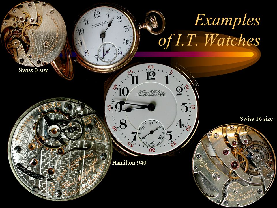 Examples of I.T. Watches Swiss 0 size Swiss 16 size Hamilton 940