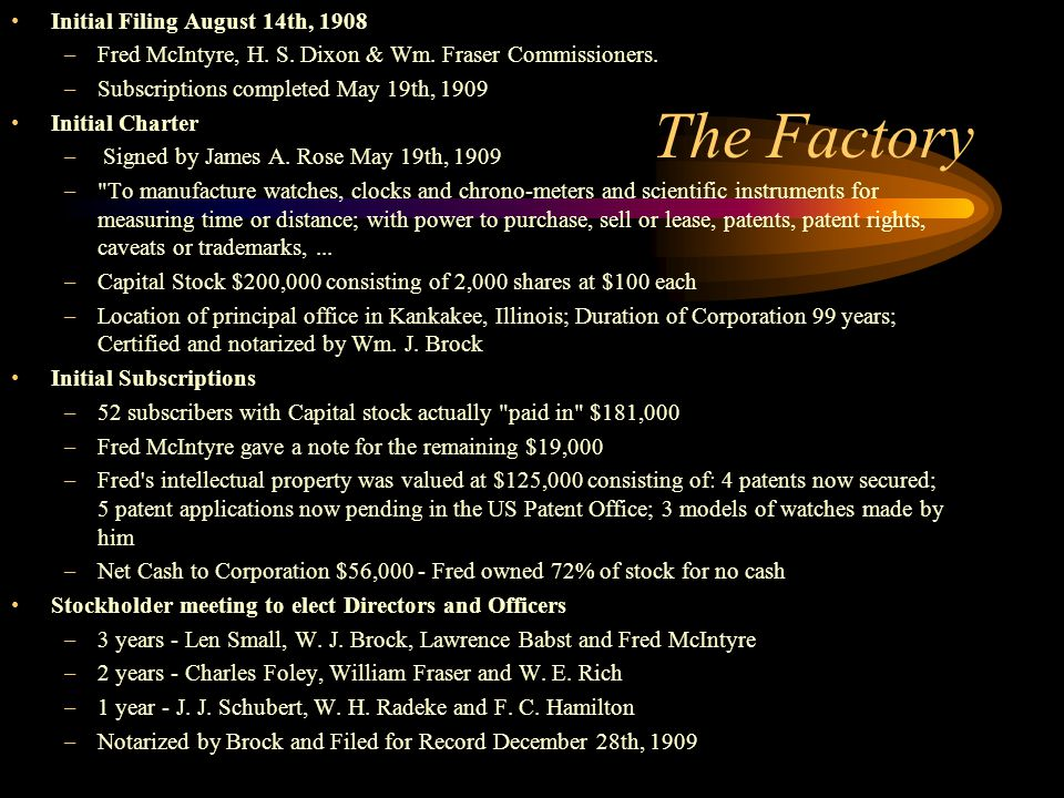 The Factory Initial Filing August 14th, 1908