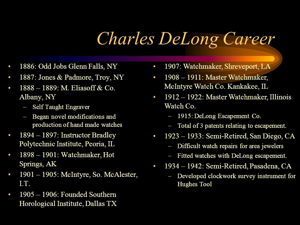 Charles DeLong Career 1886: Odd Jobs Glenn Falls, NY