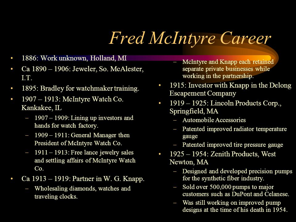 Fred McIntyre Career 1886: Work unknown, Holland, MI