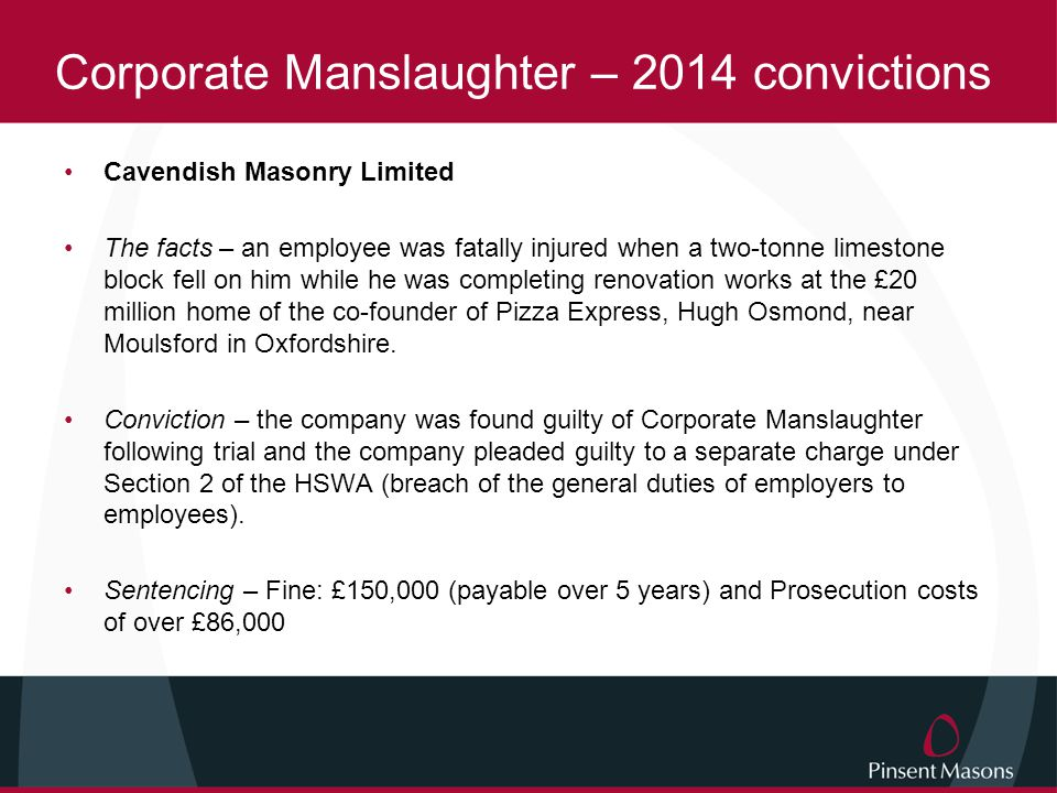 Corporate Manslaughter – 2014 convictions